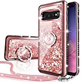 Galaxy S10 5G Case, Silverback Moving Liquid Holographic Sparkle Glitter Case with Kickstand, Bling Diamond Rhinestone Bumper W/Ring Slim Samsung Galaxy S10 5G Case for Girls Women -Rose Gold