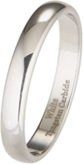 2mm to 10mm White Tungsten Carbide Mirror Polished Classic Wedding Ring