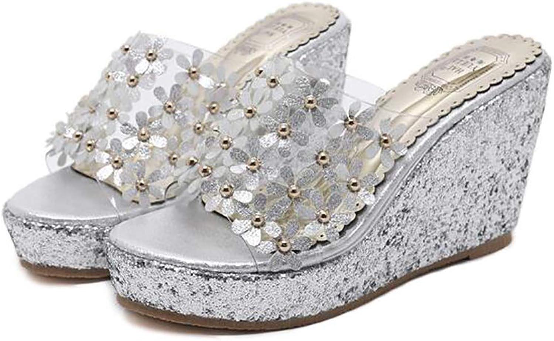 Women's Elegant Transparent Flower Sequins Rivet Bling Wedge Slipper Holiday shoes