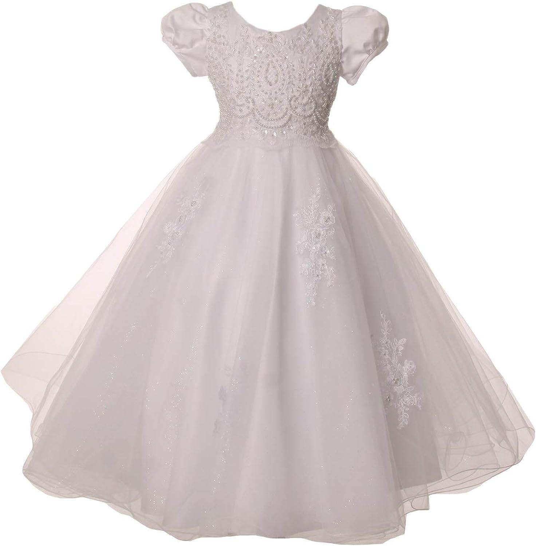 Gigi's Classy Kids Flower Girls White Baptism First Communion Dress Satin Tulle Wedding Easter Party