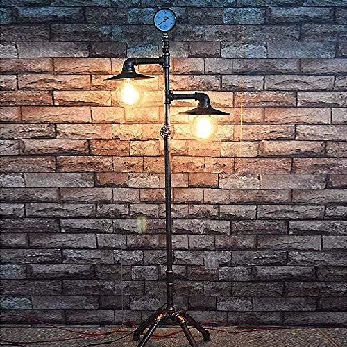COMICA1 industriële vloerlamp Retro E27 dubbele kop antiek ijzer koper waterslang vloerlamp 1,53 m met dimmer, bar, café, restaurant, schakelaar levendig