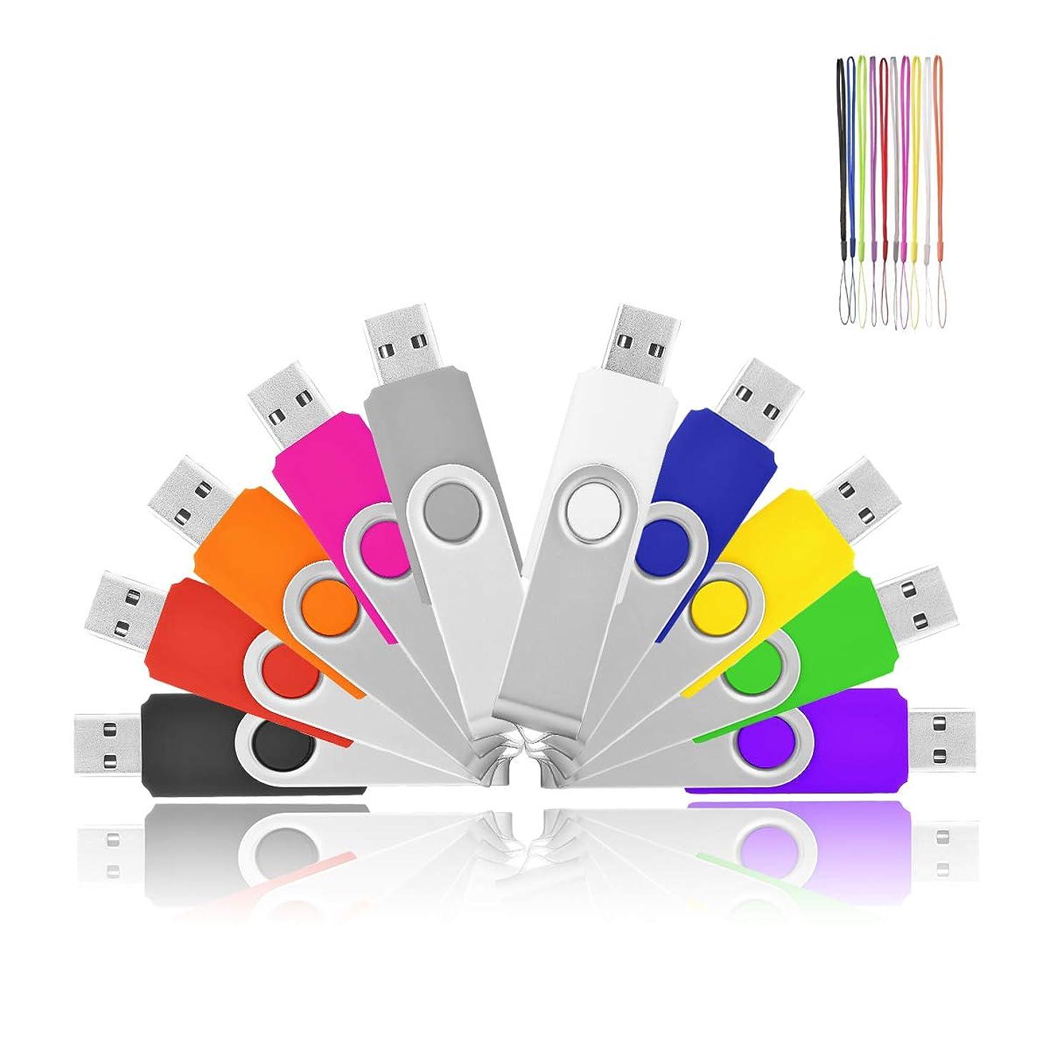HKUU 10 Pack Flash Drive 32GB USB 2.0 Memory Stick Fold Storage Thumb Stick Pen Zip Drive Bulk(Black/Grey/White/Yellow/Red/Pink/Orange/Green/Blue/Purple)