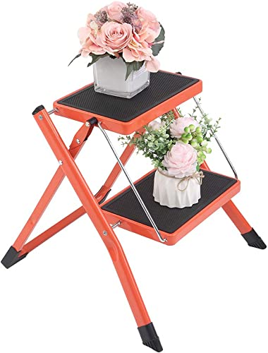 LUISLADDERS Step Ladder 2 Step Folding Step Stool Sturdy Steel Ladder with Non-Slip Pedal, Multi-Use for Home and Kitchen