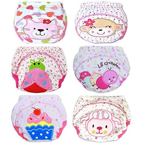 Tongchou 6 stks Baby Peuter Meisjes Katoen Potty Training Broek Herbruikbaar 0-3 Jaar Size 90/1-2 Years