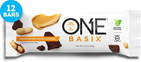ONE Basix Protein Bars, Peanut Butter Chocolate Chunk, Gluten Free Protein Bars with 20g Protein and only 1g Sugar, Guilt-Free Snacking for High Protein Diets, 2.12 oz (12 Pack)