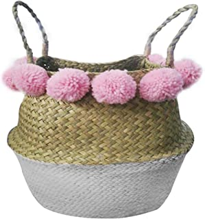 nago0 Natural Seagrass Storage Basket Planter Pom Belly Basket with Handles Foldable Woven Basket for Laundry,Toys or Planters