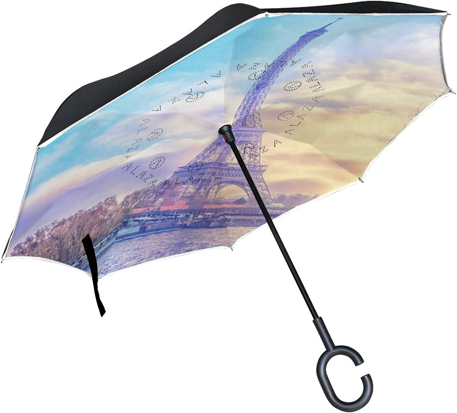 Ingreened Umbrella Double Layer Reverse Umbrella Waterproof Windproof UV Predection Straight Umbrella with CShaped Handle Eiffel Tower at Sunset Digital Printing for Car Rain Outdoor Use