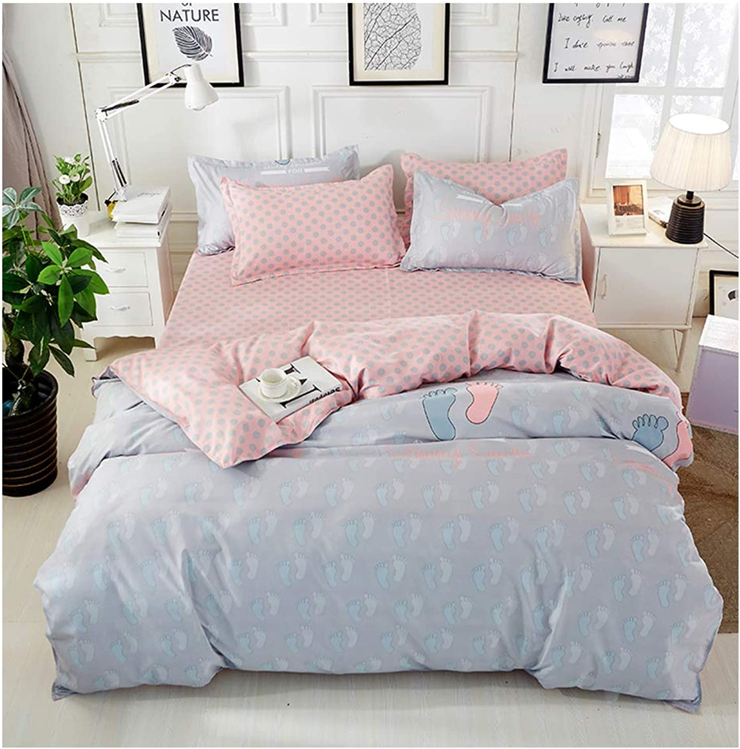 ORIHOME Beding Set - 3  4Piece Set Bedding INS Wind Foot Printing- Ultra Soft Microfiber Teen Bedding for Girl Bedroom(Without Quilt) HL (Footprint,Multi, Queen,79''x91'')