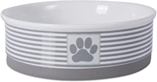 Bone Dry DII Paw Patch & Stripes Ceramic Pet Bowl for Food & Water with Non-Skid Silicone Rim for Dogs and Cats