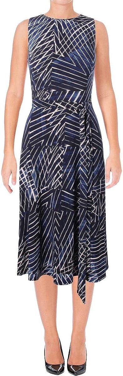Lauren by Ralph Lauren Women's Belted Printed Jersey Dress