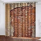 LWXBJX Opacas Cortinas Dormitorio - Arte de Pared de ladrillo Vintage - Impresión 3D Aislantes de Frío y Calor 90% Opacas Cortinas - 150 x 166 cm - Salon Cocina Habitacion Niño Moderna Decorativa