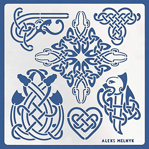 Aleks Melnyk #39.2 Metal Journal Stencil/Celtic Knot, Dragon, Scandinavian, Viking Symbols/Stainless Steel Stencil 1 PCS/Template Tool for Wood Burning, Pyrography and Engraving/Crafting/DIY