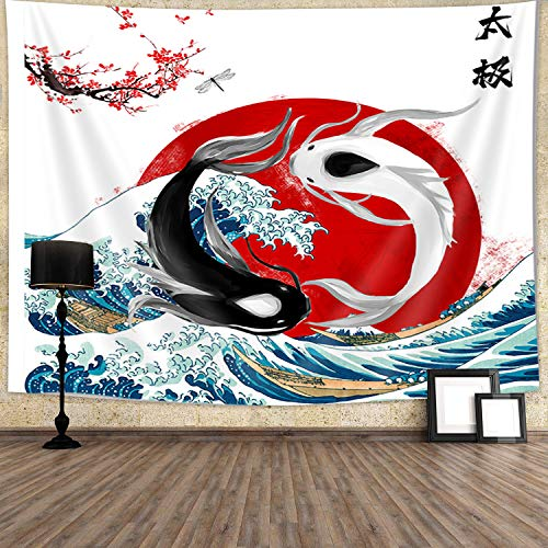 JAWO Ocean Wave Tapestry Yin Yang Tapestry Koi Fish Tapestry Wall Hanging Tapestries Decorative for Wall Art Home Dorm Room Decor