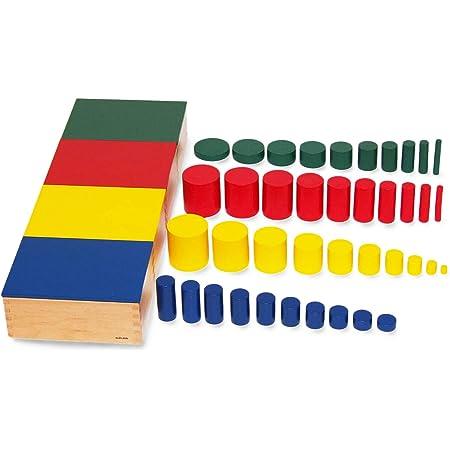 【MONTE Kids】モンテッソーリ教具 -- 色つき円柱(4色セット) -- Montessori 知育玩具教具 幼児早期教育 モンテキッズ 本格教材 算数 おもちゃ モンテッソーリ教具 -- 色つき円柱 --