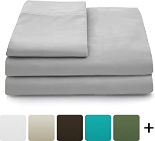 Cosy House Collection Luxury Bamboo Bed Sheet Set - Hypoallergenic Bedding Blend from Natural Bamboo Fiber - Resists Wrinkles - 4 Piece - 1 Fitted Sheet, 1 Flat, 2 Pillowcases - King, Silver