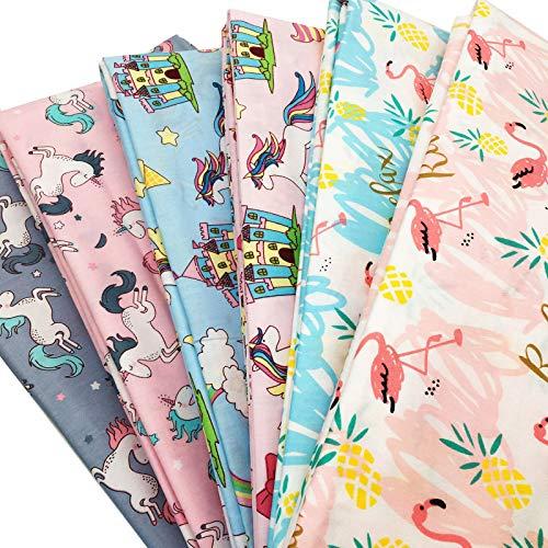 Zaione 6 Stück 50 cm x 50 cm Fat Quarter Einhörner, Regenbogenpferd, Flamingos 100% Baumwolle Stoff bedruckt Quilting Stoff für Patchwork Kissen Kissen Nähmaterial Puppentuch Cartoon Serie