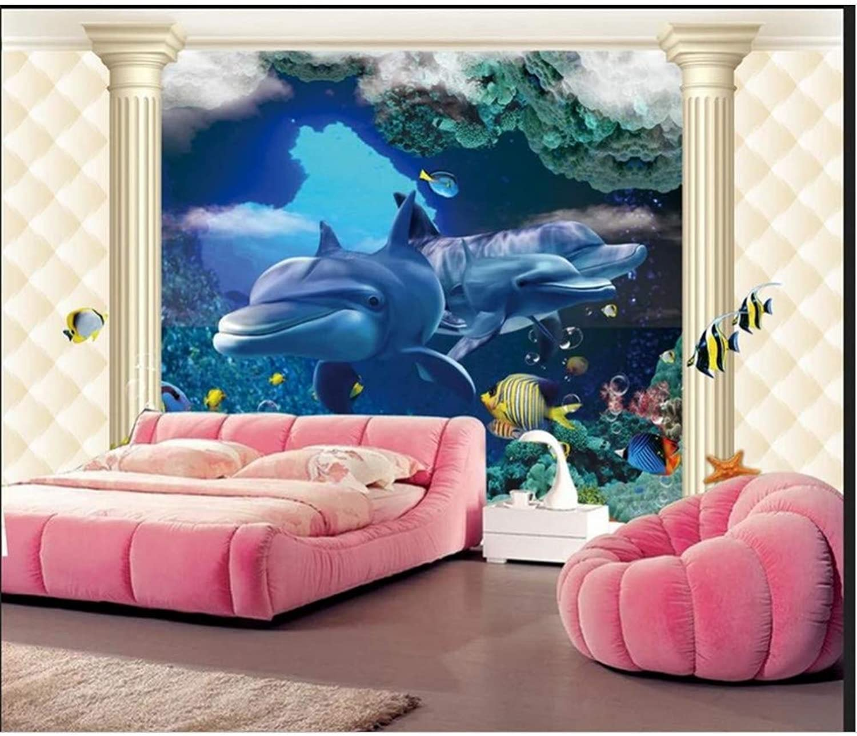 online al mejor precio YYBHTM 3D Papel Tapiz Mural Mural Mural 3D Submarino Mar Mundo Delfín Papel Pintado Cilíndrico Pintura Marina Decorativa  más vendido
