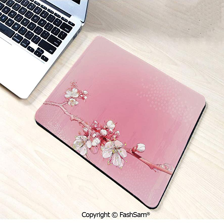 Non-Slip Rubber Mouse Pads Japanese Inspired Cherry Blossom Branch Sakura Flowers in Soft Colored Spring Time Decorative for Computers Laptop Office(W9.85xL11.8)