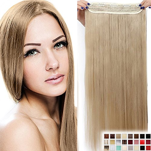"30"" Extensions Rajout Cheveux Clips Monobande - Extension a Clips 76CM(30 pouces) - Blond Cendré"