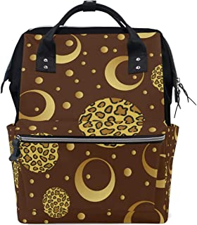 Backpack for Men Women, Gold Leopard Point Circles Casual Water-Resistant College School Backpack