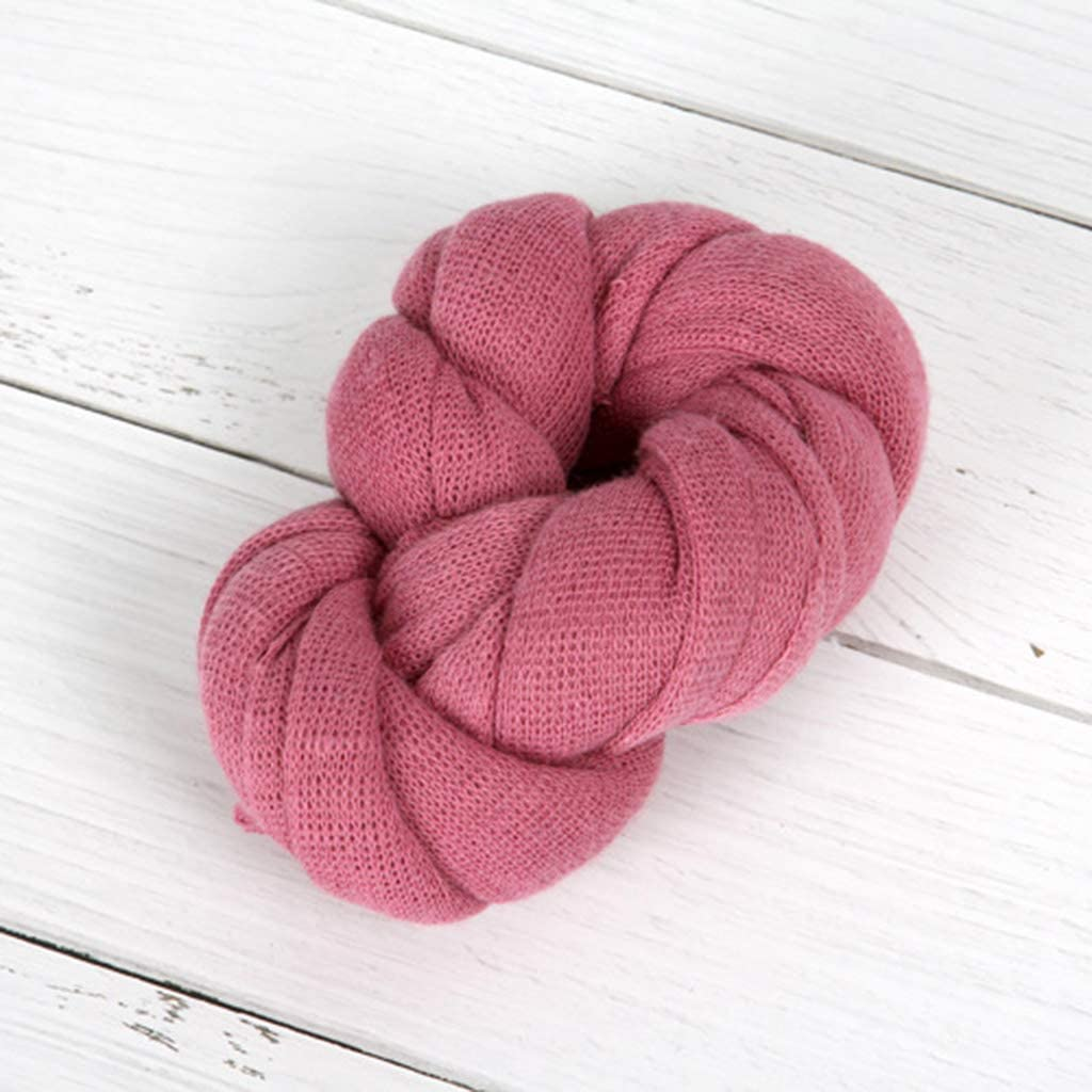 KERDEJAR Wrap,Stretch Knitting Baby Blanket Infant Photography Props Solid Color Newborn Photo Wraps Soft Shooting Accessories Rose Red