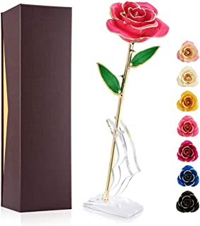 Ejoyous Gold Plated Rose, 24K Gold Dipped Real Rose Flower Gift for Lover Mom Wife Daughter Girl Friend, Present on Valentines Day, Wedding Anniversary, Birthday, Proposal, Reward (Pink with Stand)