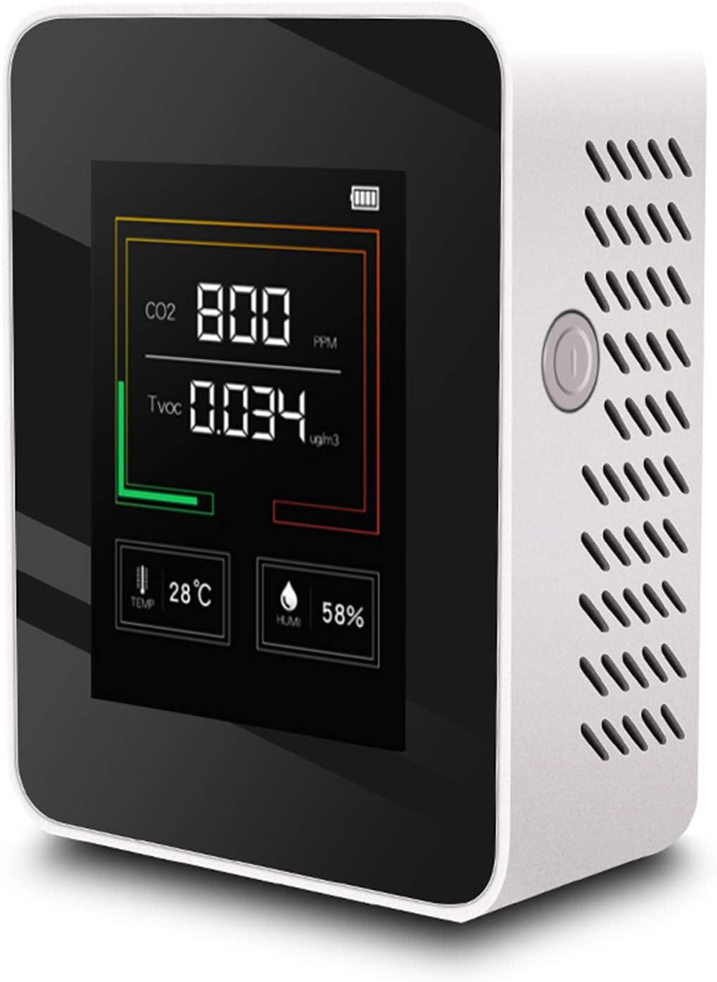 Migaven Detector CO2, K03 Portátil Medidor CO2 Temperatura Humedad Probador de Calidad del Aire Monitor Dispositivo de Medición del Medidor con Pantalla de Color Led Blanco