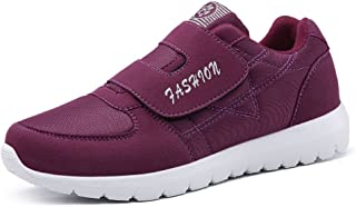 PengCheng Pang Men's Athletic Sneakers Breathable Soft Bottom Anti-Skid Light Magic Tape Middle-Aged and Old People Sport Shoes (Color : Purple, Size : 6 UK)