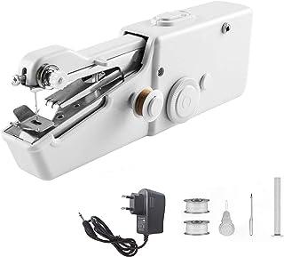MEETOZ Máquina de coser portátil de mano, máquina de coser eléctrica de mano, ropa de tela de costura, ropa para niños (blanco)