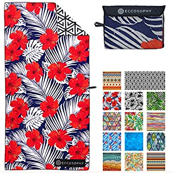 ECCOSOPHY Microfiber Beach Towel - Quick Dry Pool Towels 71x35 inches Oversized Travel Towel - Lightweight Compact Beach Accessories - Large Sand Free Micro Fiber Beach Towels  Fiji