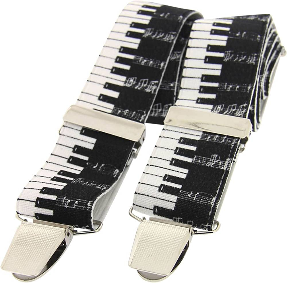 David Van Hagen Mens Piano Key Braces - Black/White