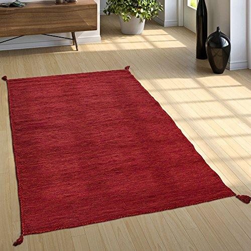 Paco Home Alfombra Natural Salón con Flecos, Moderna Tejida A Mano Kilim, 100% Algodón, tamaño:160x220 cm, Color:Rojo
