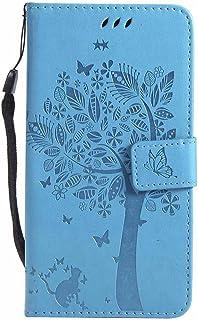 Capa para LG V30, estampa de borboleta de gato árvore em relevo, carteira de couro PU com suporte flip para LG V30- Azul