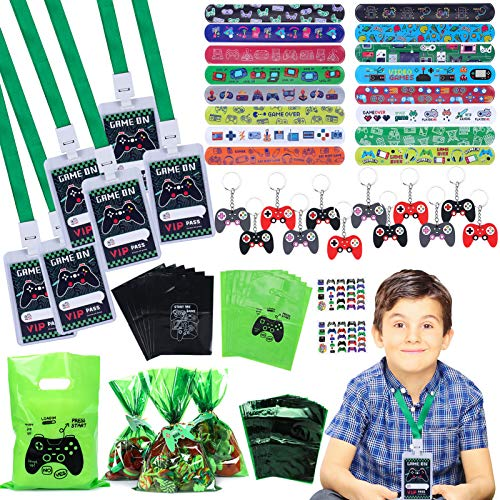 94pcs Video Game Party Favors with VIP Pass Gamer Slap Bracelets Keychain Tattoos Party Bags Kids Boy Gaming On Themed Birthday Party Supplies Candy Rewards Treat Pinata Gift Goodie Bag Fillers