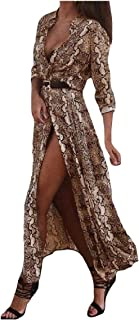MogogoWomen Serpentine Long-Sleeve Stand Collar Cardi Mid and Maxi Dress