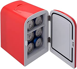pittayadomeshop Mini Fridge Portable Cooler and Warmer Auto 6 Can Car Boat Home Office Cool and Hot Drinks AC & DC Red