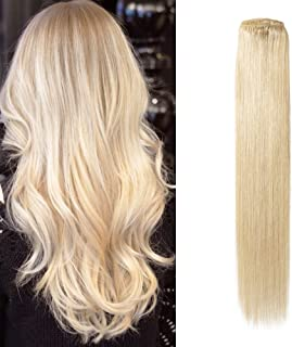 Komifa Remy Hair Extension Clip in Hair Extension Human Hair, Double Weft, Soft Natural Real Hair 100 grams 18 inch(45cm), Color No.613 Bleach Blonde