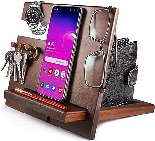AMMY Wood Docking Station,Phone Key Holder Wallet Stand Watch Organizer Men Gift Husband Anniversary Dad Birthday Nightsta...