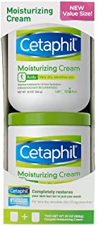 Cetaphil Moisturizing Cream for Very Dry, Sensitive Skin, Fragrance Free, 20 Oz Each (Pack of 2)