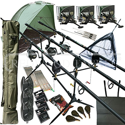 OAKWOOD Mega Carp Fishing Set Up Kit Rods Reels Rigs Alarms Bait Tackle Tools Mat