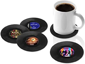 Juego de 4 posavasos de discos de vinilo para taza, diseño retro, de Dooppa
