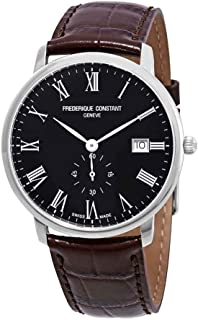 Frederique Constant Slimline Black Dial Leather Strap Men's Watch FC-245BR5S6DBR