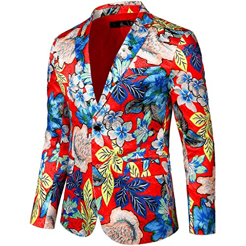 PPangUDing Anzugjacken Herren Print Bunte Slim Fit Performance Smokings Blazer, Retro Revers Männer Langarm EIN-Knopf Sakko Jacket Trenchcoat Für Hochzeit Party Business Wedding