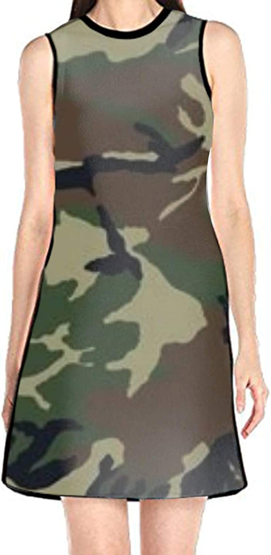Hzhao Women's Sleeveless Sundress Funny Astronaut Print TShirt Dress ALine Tunic Shirt