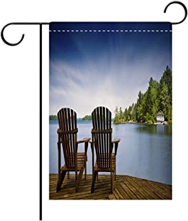 BEICICI Artistically Designed Yard Flags, Double Sided Wood Muskoka Chairs on a Lake Deck Best for Party Yard and Home Outdoor Decor