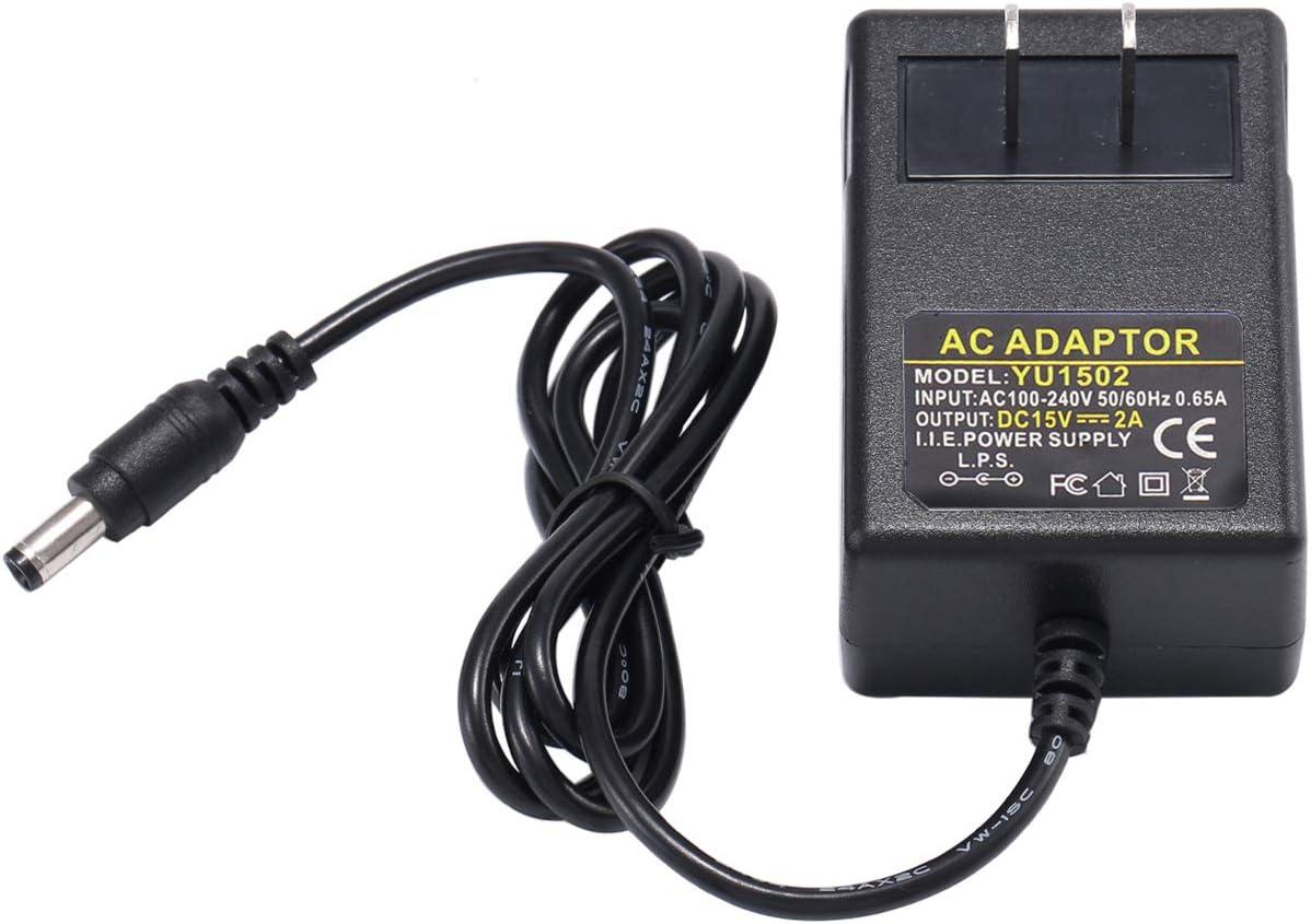 LeTaoXing 15V 2A Power Supply Charger (Input AC 100V-240V, Output DC 15 Volt Power Supply 2 Amp 30 Watt) Adapter Switching Transformer Converter DC 5.5mm x 2.1mm / 5.5mm x 2.5mm Universal ( 3.6Ft )