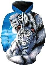 Unisex 3D Print Funny Creative Graphic Velvet Pullover,White Tiger Print Drawstring Hoodieswith Big Pockets Sweatshirts