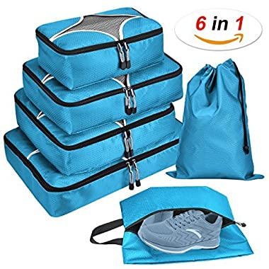 6 Set Packing Cubes - Travel Luggage Packing Organizers with Laundry Bag & Shoe bag
