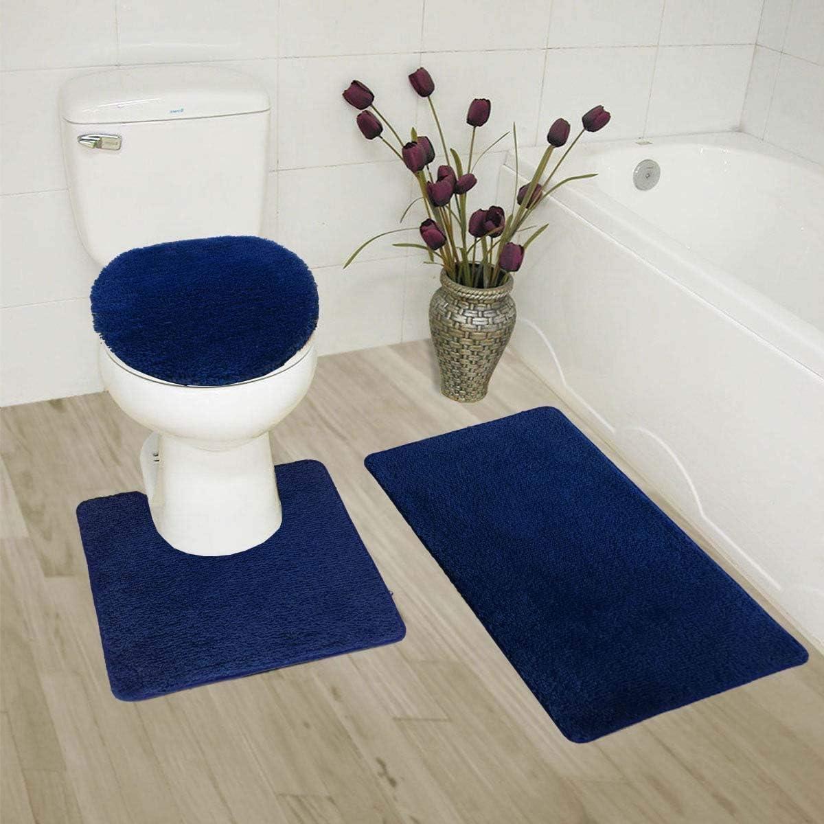 Elegant High quality Home Goods Solid Color 3 Set Bath Rug Piece Bathroom Oklahoma City Mall