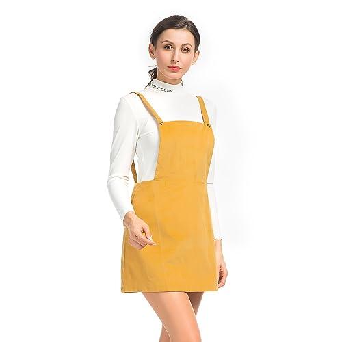 bb7acc99f9 Clothink Women Yellow Corduroy Suspender Skirt Overall Mini Dress